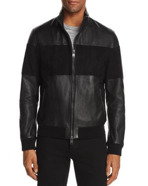 Boss Miloy Leather and Suede Moto Jacket