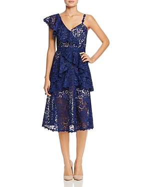 Alice and Olivia Florrie Ruffle Midi Dress