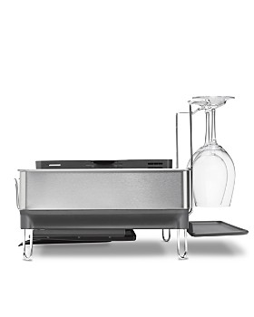 simplehuman - Steel Frame Dish Rack with Wine Glass Holder