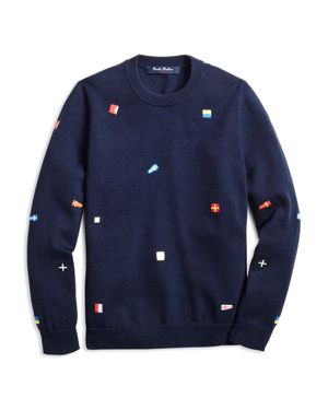 Brooks Brothers Boys' Embroidered Nautical Flag Sweater - Big Kid thumbnail