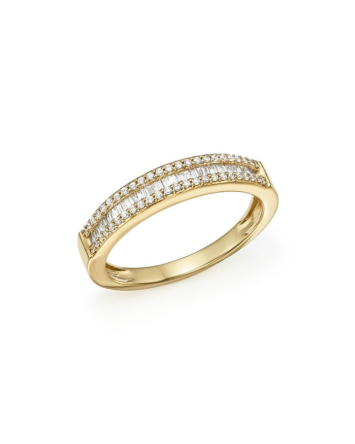 Bloomingdale's DIAMOND ROUND & BAGUETTE BAND IN 14K YELLOW GOLD, 0.25 CT. T.W. - 100% EXCLUSIVE