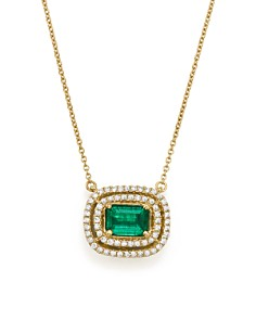 "Bloomingdale's - Emerald & Diamond Halo Pendant Necklace in 14K Yellow Gold, 18"" - 100% Exclusive"