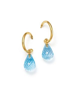 Blue Topaz Briolette Hoop Drop Earrings in 14K Yellow Gold