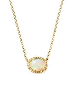 Bloomingdale's Opal Oval Pendant Necklace in 14K Yellow Gold