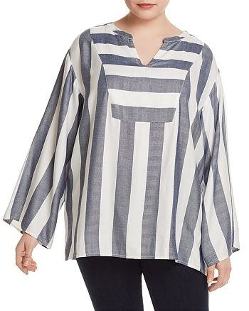 VINCE CAMUTO Plus - Bell-Sleeve Stripe Tunic