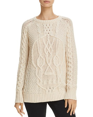 $AQUA Skull Cable-Knit Sweater - 100% Exclusive - Bloomingdale's