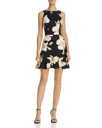 AQUA - Sleeveless Ruffled Floral Print Dress - 100% Exclusive