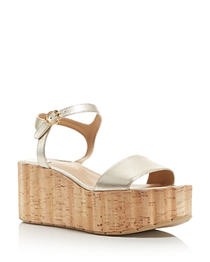 Salvatore Ferragamo Women's Leather Ankle Strap Platform Wedge Sandals