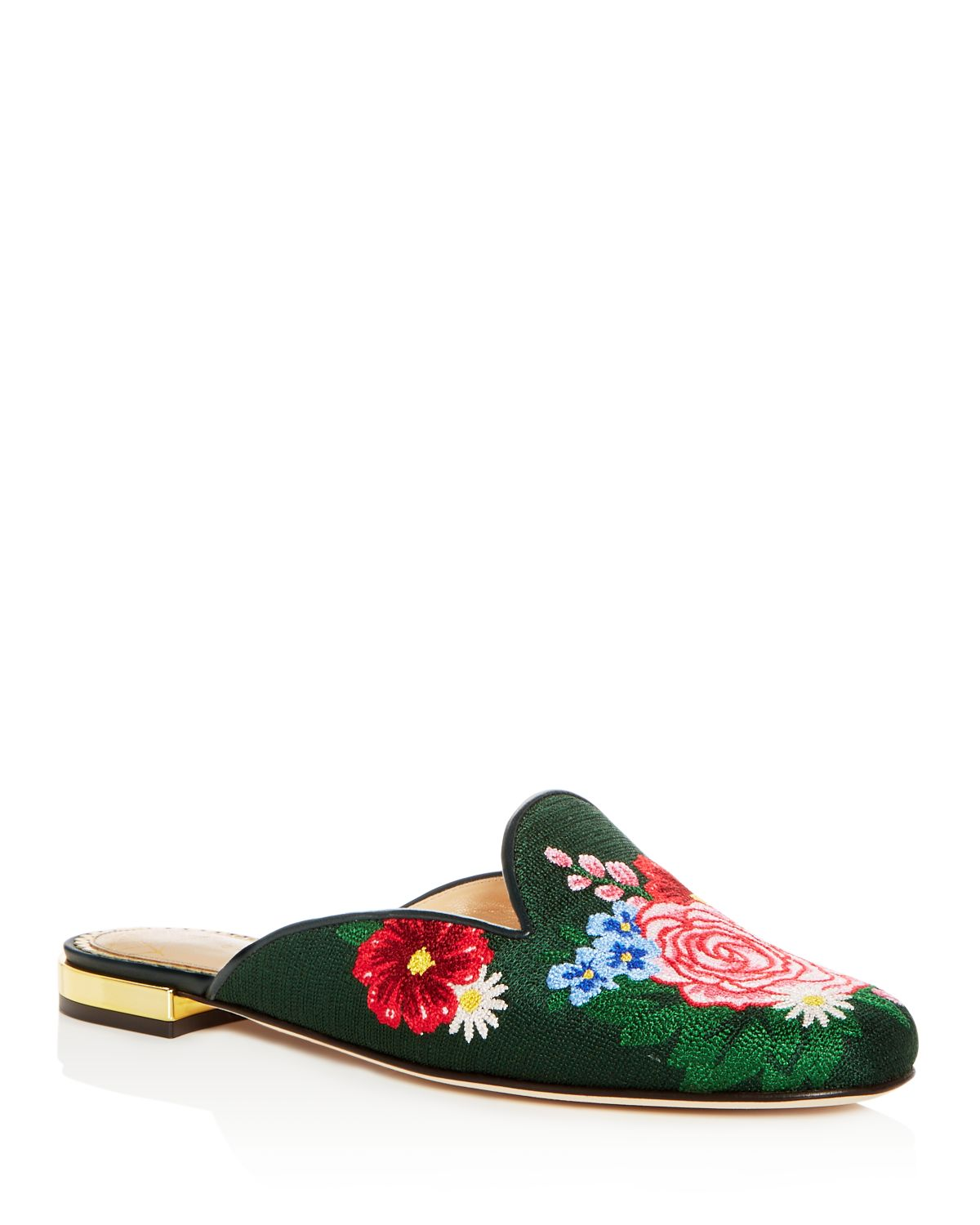 Charlotte Olympia Women's Rose Garden Embroidered Mules