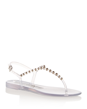 fbf6a3cffecb Sergio Rossi Studded Pvc Thong Sandals - Nudeflesh Size 6