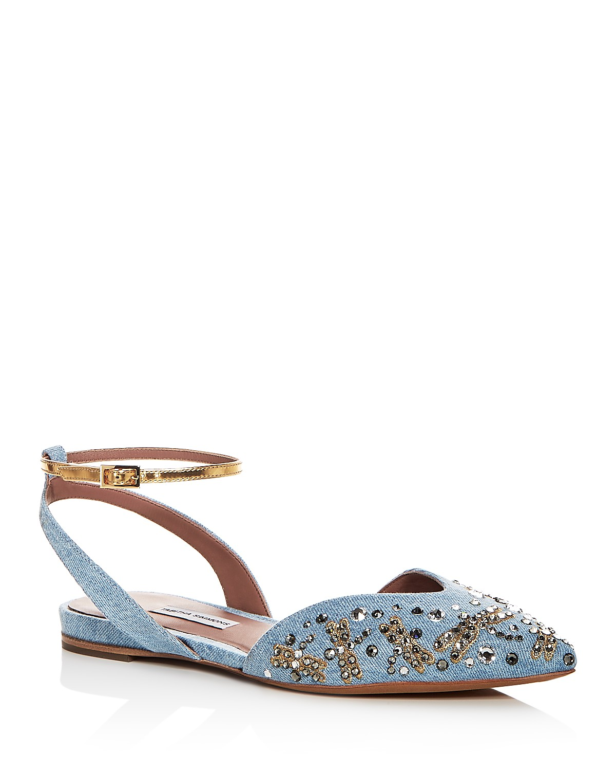 Tabitha Simmons Women's Vera Fly Spark Embellished Denim Ankle Strap Flats 9O4T5X0