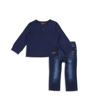 7 For All Mankind Boys' Henley & Jeans Set - Baby