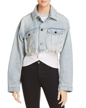 BLAZE CROPPED DISTRESSED DENIM JACKET