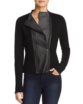 Elie Tahari - Amanka Leather-Inset Merino Wool Sweater
