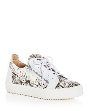 WOMEN'S MAY LONDON SNAKE EMBOSSED LEATHER PLATFORM LACE UP SNEAKERS