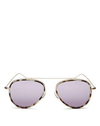 Illesteva - Women's Dorchester Mirrored Brow Bar Aviator Sunglasses, 52mm