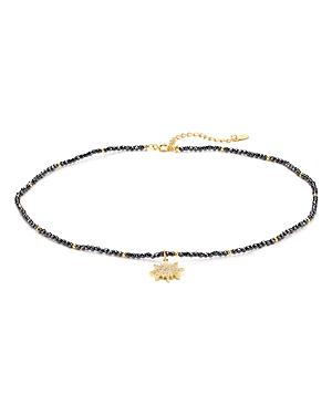 Aqua Sterling Silver Starburst Choker Necklace, 14