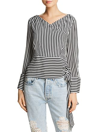 c59ac59b40bc7 Alice and Olivia Alice + Olivia Alba Striped Tie-Waist Silk Top ...
