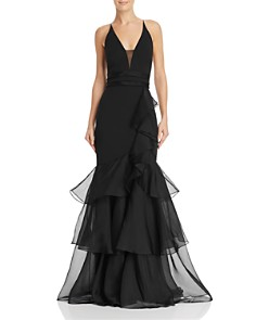 Aidan Mattox - Tiered-Ruffle Crepe Gown