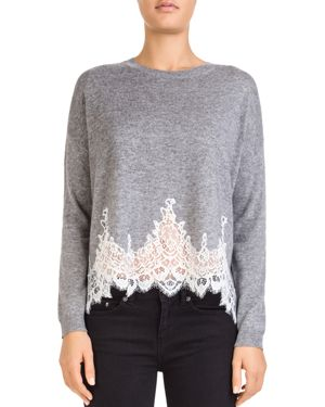 The Kooples Lace-Trimmed Wool-Blend Sweater