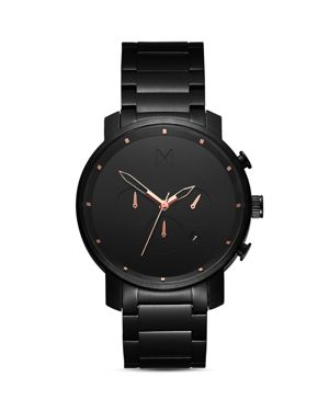The Chrono Chronograph Bracelet Watch, 45Mm, All Black/ Rose Gold