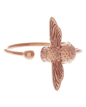 ROSE GOLD TONE 3D BEE OPEN RING