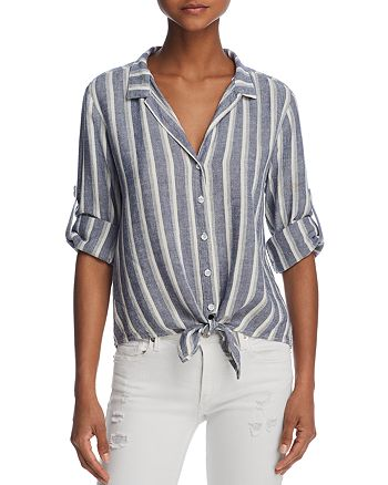 Bella Dahl - Striped Tie-Front Button-Down Shirt - 100% Exclusive