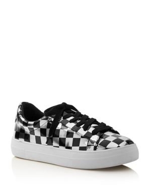 Aqua Women's Score Metallic Checkerboard Lace Up Sneakers - 100% Exclusive 2825663
