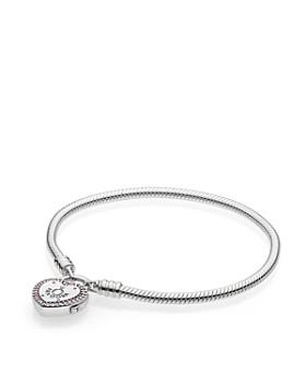 Pandora - Sterling Silver & Cubic Zirconia Lock Your Promise Snake Chain Bracelet