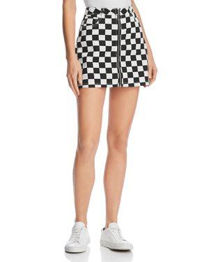 Sunset + Spring Checkerboard Denim Mini Skirt - 100% Exclusive