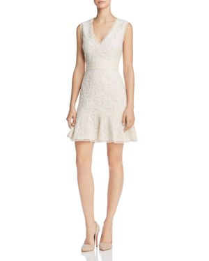 Alice + Olivia Onella Ruffle-Hem Lace Dress