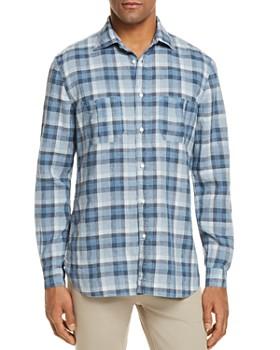 Eidos - Linen Plaid Regular Fit Button-Down Shirt