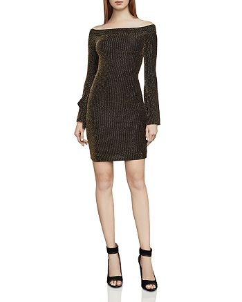 BCBGMAXAZRIA - Ellena Metallic Striped Off-the-Shoulder Dress