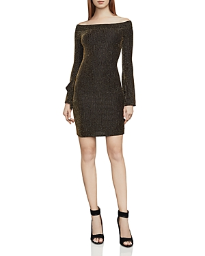 Bcbgmaxazria Ellena Metallic Striped Off-the-Shoulder Dress