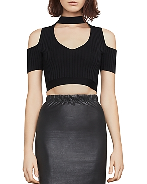 Bcbgmaxazria Petral Cold-Shoulder Cropped Top