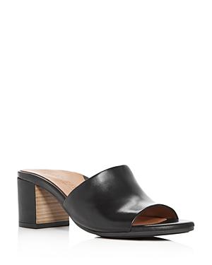 Gentle Souls Women's Chantel Leather Block Heel Slide Sandals