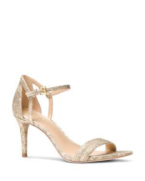 Michael Michael Kors Simone Embossed Leather Mid Heel Sandals