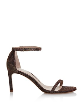 Stuart Weitzman - Women's Nudisttraditional Sparkle Knit High-Heel Sandals