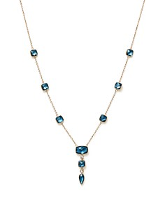 "Olivia B - 14K Yellow Gold London Blue Topaz & Diamond Station Pendant Necklace, 14"" - 100% Exclusive"