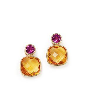 OLIVIA B 14K YELLOW GOLD GEOMETRIC CITRINE & RHODOLITE GARNET BEZEL EARRINGS - 100% EXCLUSIVE