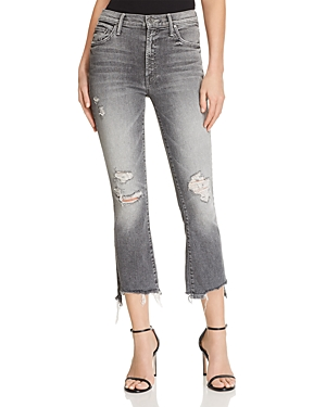 Mother Insider Crop Step-Hem Distressed Jeans in Scene Of The Crime