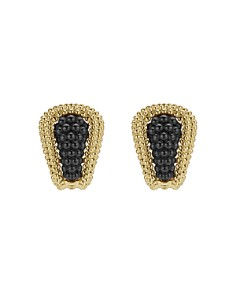LAGOS - Gold & Black Caviar Collection 18K Gold & Ceramic Huggie Earrings