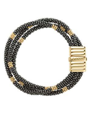 Lagos Gold & Black Caviar Collection 18K Gold & Ceramic Beaded Multi-Strand Bracelet