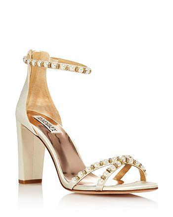 215f0d2606 Badgley Mischka - Women's Hooper Embellished Satin High Block Heel Sandals