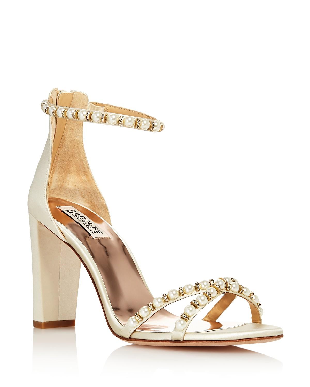 Badgley Mischka Women's Hooper Embellished Satin High Block Heel Sandals ypYXmq