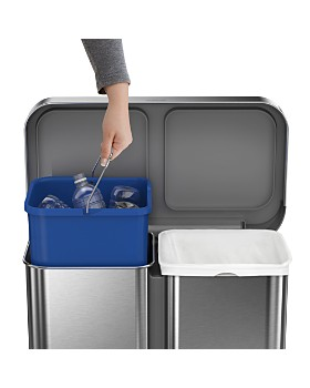 simplehuman - 58L Dual Compartment Rectangular Step Can with Liner Rim