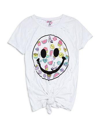 Flowers by Zoe - Girls' Distressed Tie-Front Smiley Tee - Big Kid