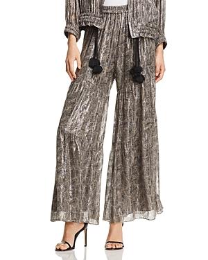 Kobi Halperin Ilse Metallic Paisley Wide-Leg Pants