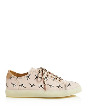 Pairs in Paris - Women's Floral Print Leather Low Top Lace Up Sneakers - 100% Exclusive