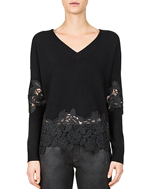 The Kooples Lace-Peplum V-Neck Sweater